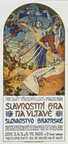 Alfons Mucha: Plakat für das Historienspiel Slawische Brüderlichkeit zum 8. Sokol-Treff, Prag 1926.