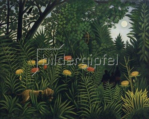 Henri Rousseau: Urwald mit Tiger und Jägern. Um 1907.