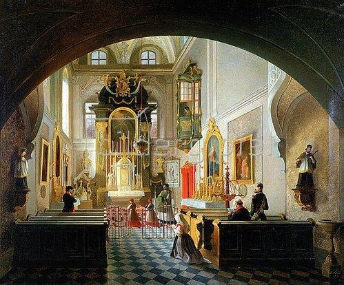 Vincenco Abbati: Inneres einer Kapelle.