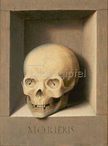 Hans Memling: Totenkopf. Rückseite vom Johannes- und Veronika-Diptychon.