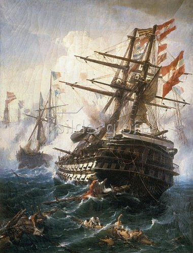 Konstantinos Volanakis: Das Linienschiff Kaiser in der Seeschlacht von Lissa. Gemalt 1868.