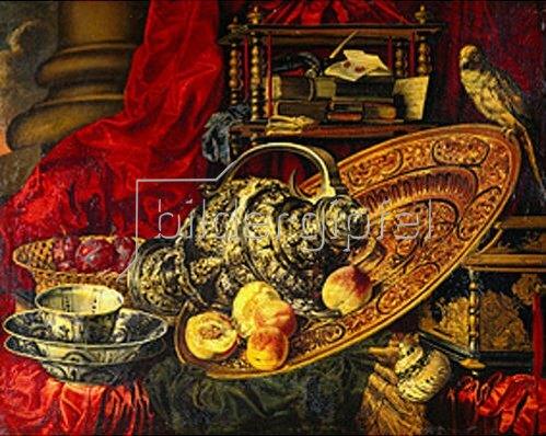 Französisch: Stillleben mit Schüssel, Kanne, Früchten und japanischer Lackschatulle. Nach 1750