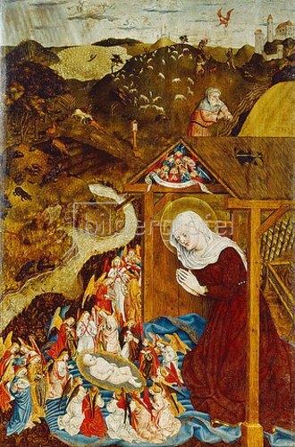 Meister der Pollinger Tafeln: Die Geburt Christi.