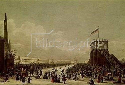 Karl Petrowitsch Beggrow: Wintervergnügen auf der Zarizyn-Wiese um 1820. Lithochromie nach einer Zeich-