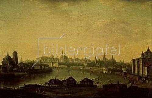 Maxim Nikiforowitsch Worobjew: Moskau, Blick von der Uspinsker Brücke zum Erziehungsheim und den Kreml. 1818.