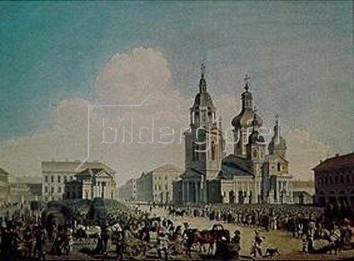 Alexandr Pawlowitsch Brjullow: Moskau, der Sennaja-Platz. 1822.