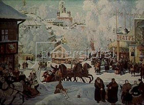 Boris Michailowitsch Kustodiev: Faschingstreiben in einer russischen Kleinstadt. 1918.