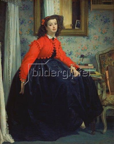 James Jacques Tissot: Junge Frau in roter Weste. 1864