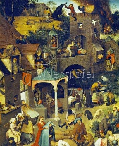 Pieter Brueghel d.Ä.: Die niederländischen Sprichwörter (Detail Mitte oben). 1559.