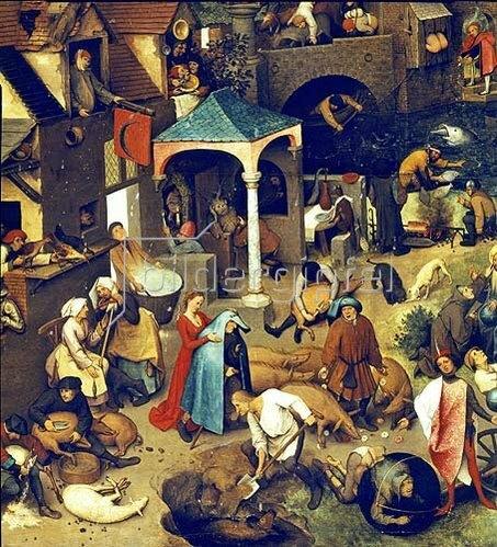Pieter Brueghel d.Ä.: Die niederländischen Sprichwörter. (Detail Mitte unten)