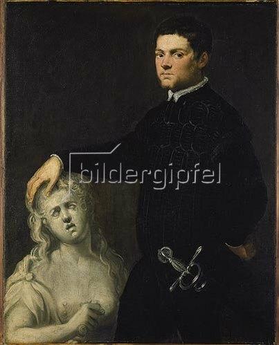 Tintoretto (Jacopo Robusti): Bildnis eines vornehmen Jünglings mit einer Skulptur der Lukretia.