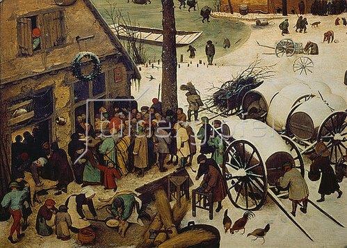 Pieter Brueghel d.Ä.: Die Volkszählung zu Bethlehem. 1566. Detail links unten (Die Zählung).