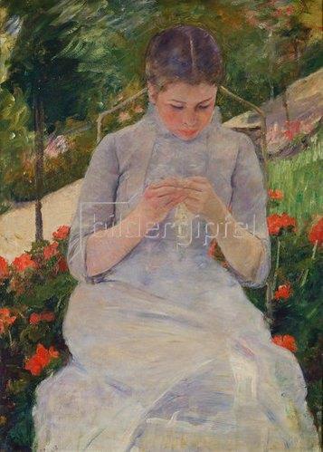Mary Cassatt: Junge strickende Frau im Garten. Um 1880/82