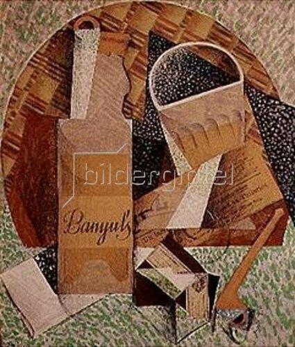 Juan Gris: La bouteille de Banyuls. 1914.