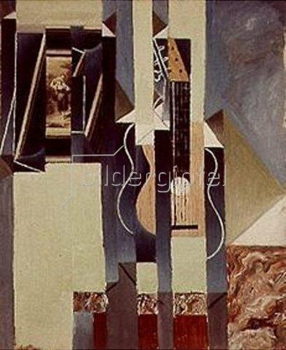 Juan Gris: Stilleben mit Gitarre und aufklebtem Foto.