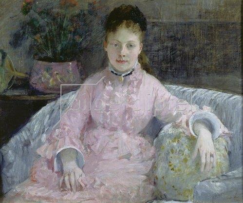 Berthe Morisot: Frau in rosafarbenem Kleid. Um 1870