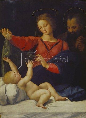 Raffael (Raffaello Sanzio): Hl.Familie, sogenannte Madonna del Velo. Kopie des verschollenen Gemäldes.