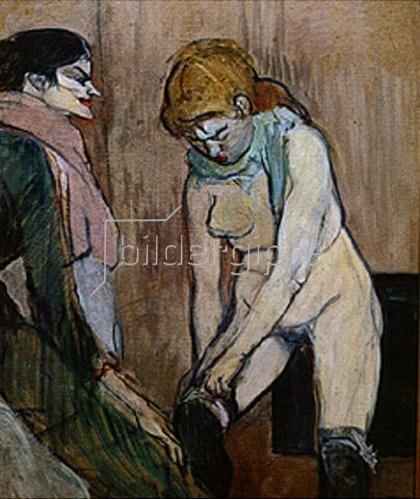 Henri de Toulouse-Lautrec: Junge Frau beim Anziehen des Strumpfes. 1894.