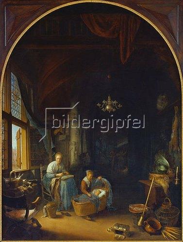 Gerrit (Gerard) Dou: Die junge Mutter. 1658