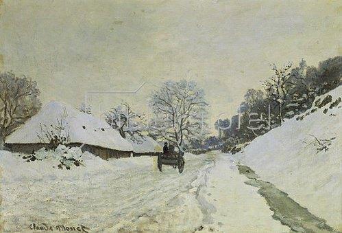 Claude Monet: Wagen auf verschneiter Strasse in Honfleur. Gegen 1867.