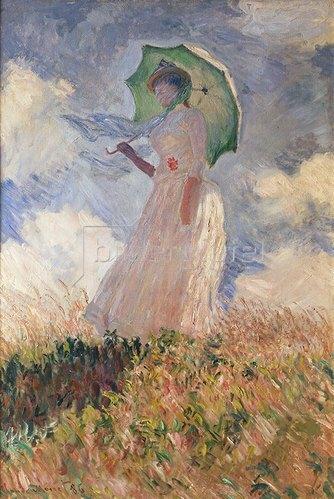 Claude Monet: Frau mit Sonnenschirm, nach links gewendet (Suzanne Hoschedé). 1886.