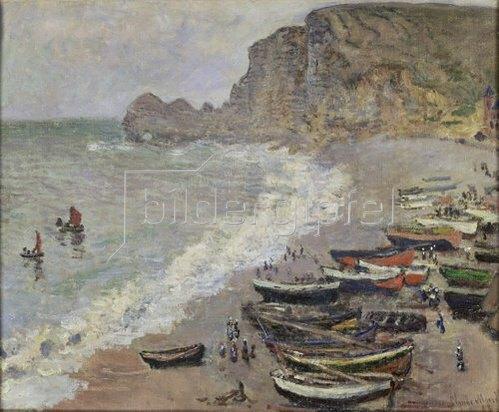 Claude Monet: Etretat, Strand und Hafen von Amont. 1883