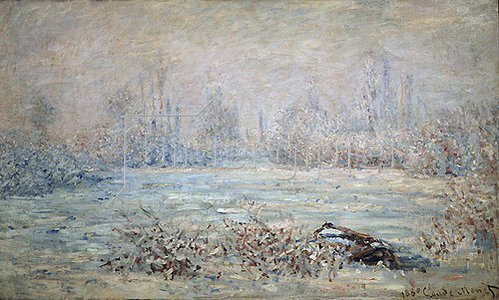Claude Monet: Rauhreiflandschaft bei Vétheuil. 1880.