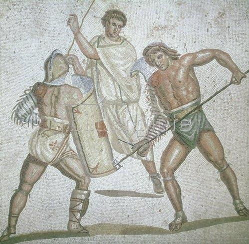 Römisch: Zwei kämpfende Gladiatoren und ein Schiedsrichter. Fußbodenmosaik