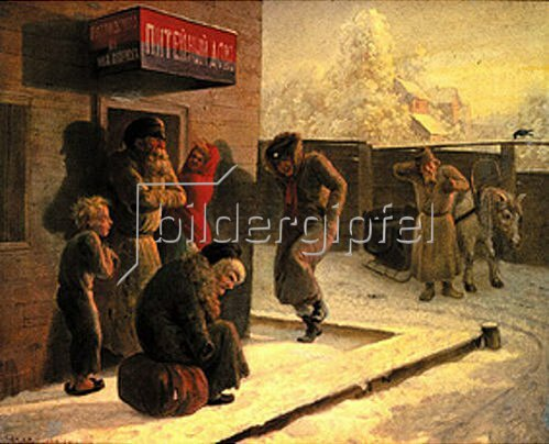 Leonid Solomatkin: Vor einer russischen Kneipe im Winter.