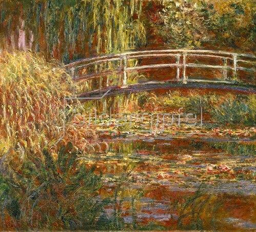 Claude Monet: Seerosenteich und japanische Brücke (Harmonie in rosa). 1900.