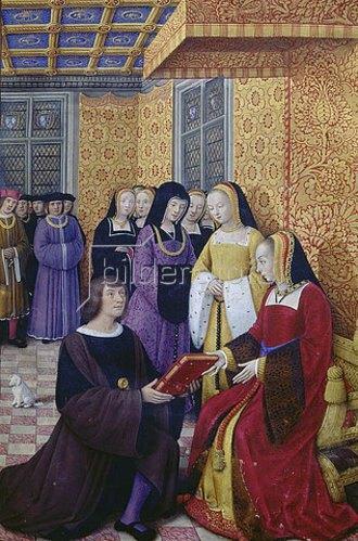 Jean Bourdichon: Aus: Le voyage de Gênes: Der Dichter Jean Marot übergibt sein Werk Anne de Bretgane.