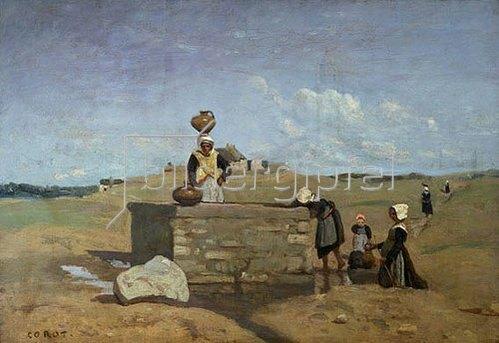 Jean-Baptiste Camille Corot: Bretonische Frauen am Brunnen. 1850/55.