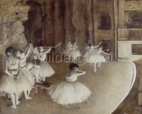 Edgar Degas: Ballettprobe auf der Bühne. 1874