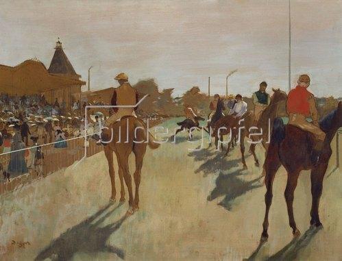 Edgar Degas: Vor dem Rennen. Rennpferde beim Défilé vor den Tribünen. Gegen 1866/68