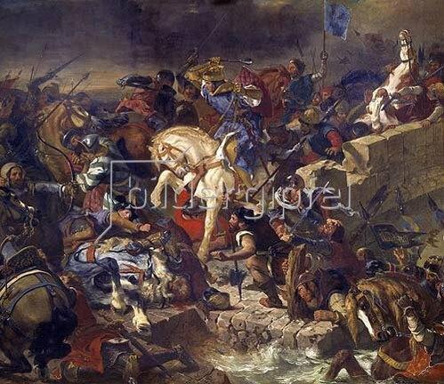 Eugene Delacroix: Die Schlacht von Taillebourg am 21.Juli 1242. Entstanden 1837.