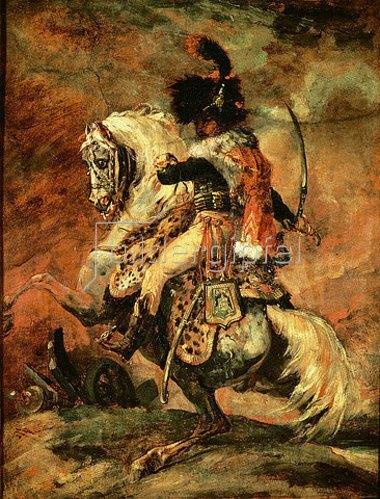 Théodore Géricault: Kavallerieoffizier, auf einem Apfelschimmel reitend. 1812/16