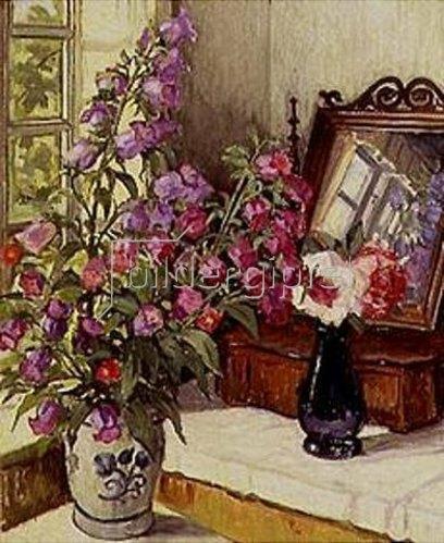 Wilfred Glud: Stilleben mit Fingerhut und Rosen auf einer Frisierkommode. 1922.