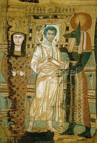 Ägyptisch: Jüngling im Totengewand. Links seine Mumie als Osiris, rechts Gott Anubis.