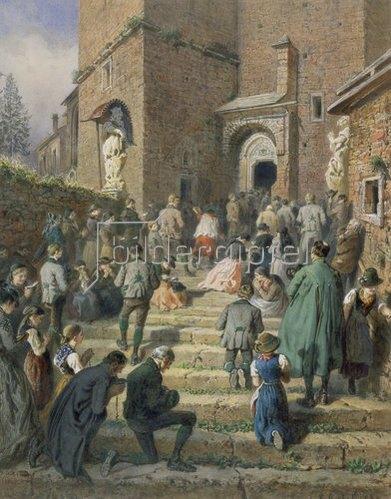 Karl Goebel: Sonntagsandacht an der Eisenerzer Kirche (1869)