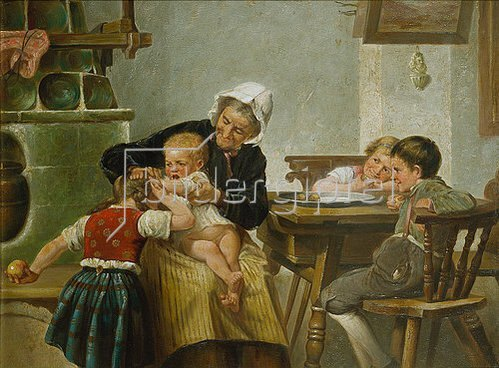 Hermann Kern: Grossmutter mit spielenden Enkeln.