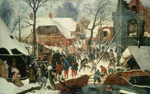 Pieter Brueghel d.J.: Die Anbetung der hl. drei Könige im Schnee.