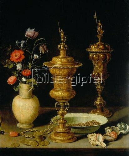 Clara Peeters: Stilleben mit Blumen und Pokalen. 1612