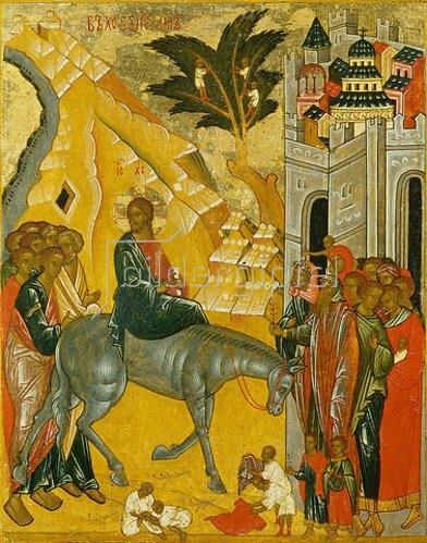 Ikone russisch: Einzug Jesu in Jerusalem.