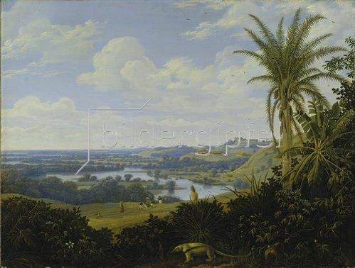 Frans Post: Brasilianische Landschaft mit Ameisenbär. Wohl 1649