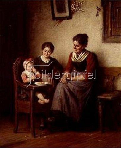 Rudolf Epp: Mutter mit zwei Kindern in der Bauernstube.