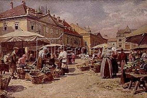 Hans Hamza: Markttag in einer altösterreichischen Kleinstadt.
