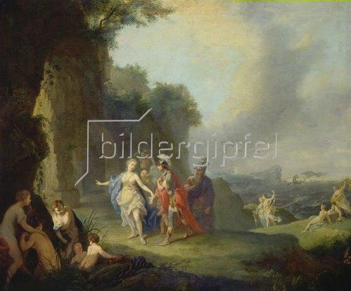 Johann Heinrich Tischbein: Dido und Aeneas flüchten vor dem Gewitter in eine Höhle. 1757.