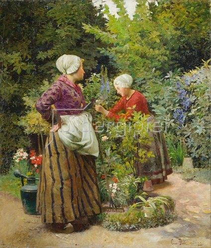 Carl Duxa: Zwei holländische Mädchen im Garten. 1899.