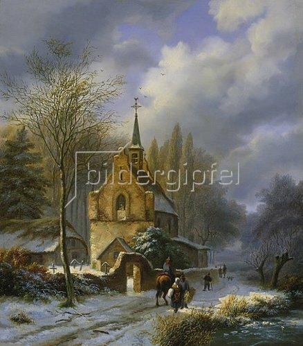 Barend Cornelisz Koekkoek: Winterlandschaft an einer Kirche.