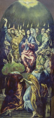 Greco El (Dom.Theotokopoulos): Die Ausgießung des heiligen Geistes (Pfingstfest). Um 1605/10.